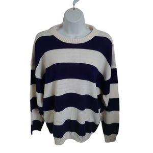 Meilleur Striped Knit Sweater, Cream/Blue
